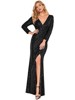 Women Sequin Evening Dress Long Sleeve Side Split Evening Gowns 0824
