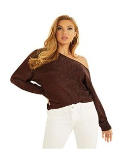 Women's Long Sleeve Catrina Off The Shoulder Lurex Cord Sweater