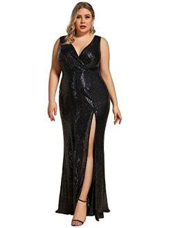 Women's Long Sleeve Plus Size Sequin Gowns Side Split Evening Dress 0824