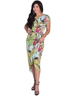Womens Elegant Short Cap Sleeves Floral Print Asymmetrical Midi Dress