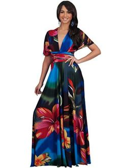 Womens Long One Shoulder Convertible Wrap Infinity Floral Maxi Dress
