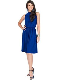 Womens Sleeveless Halter Neck Flowy Work Knee Length Day Sexy Midi Dress