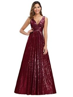 Women's V-neck Long Sequin Dress Maxi Formal Party Dress 0825