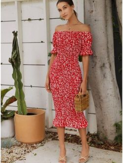 Off Shoulder Ruffle Trim Shirred Ditsy Floral Dress