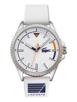 Men's Cap Marino White Silicone Strap Analog Watch 44mm