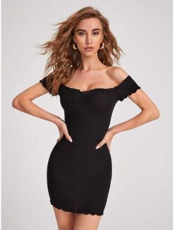Ribbed Off-the-shoulder Bodycon Mini Dress