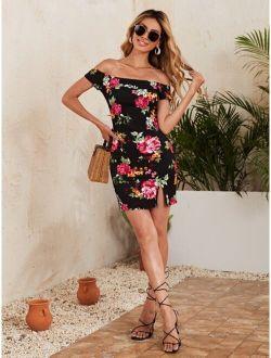 Off Shoulder Split Hem Floral Print Dress
