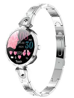 Smart Watch for Women Heart Rate Monitor Blood Pressure Watch Step Calorie Counter Sleep Tracker Pedometer Fitness Tracker Luxury Rose Gold Ladies Smart Watches for Andro