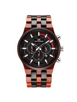 Men Wooden Watch Luminous Watches Analog Quartz Watch Multifunction Wristwatches Natural Wood Watches For Men