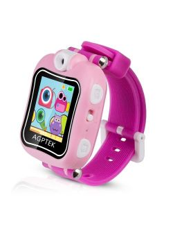 Kid Smartwatch with 90 Degree Rotating Camera, Video Recording, Games, Stopwatch, Alarm Clock, Red/Pink
