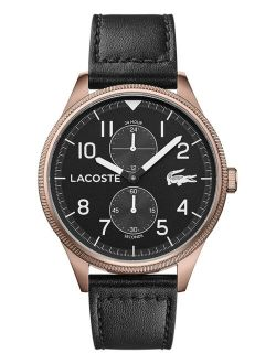 Men's Chronograph Continental Black Leather Strap Watch 44mm