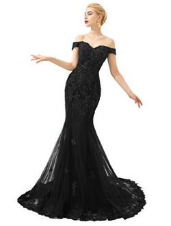 OYISHA Women Off The Shoulder Lace Prom Dresses Long 2021 Mermaid Formal Evening Gown P012