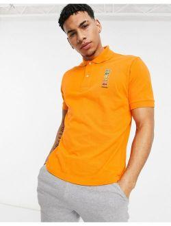X Polaroid Short Sleeve Polo In Orange