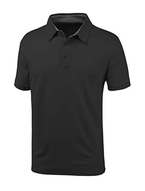GEEK LIGHTING Mens Polo Shirt Quick-Dry High Moisture Wicking Short Sleeve Sports Golf Tennis T-Shirt