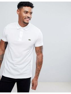 Slim Fit Pique Short Sleeve Polo In White