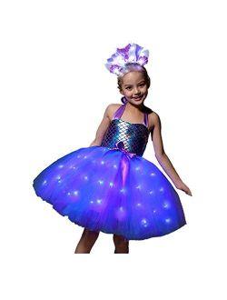SHINYOU Girls Unicorn Costume Dress Up Birthday Outfit LED Light Up Unicorn Tutu for Halloween Birthday Gift
