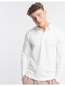 Slim Fit Long Sleeve Pique Polo In White