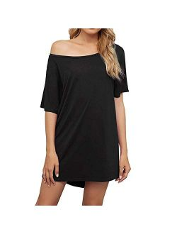 Women's Off Shoulder Tshirt Dress, Plus Size Top, Nightshirt, Cover Up, Short Sleeve High Low Loose Soft
