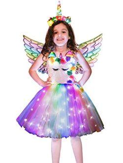 Soyoekbt Girls Unicorn Costume LED Light Up Unicorn Dress Birthday Party Princess Dress for Halloween Party