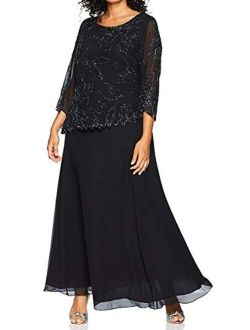 Plus Size Womens Sheer Sleeve Floral Beaded Long Dress