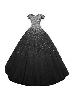 Dydsz Women's Off Shoulder Quinceanera Dresses Beaded Prom Party Dress Ball Gown