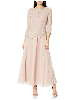 Women's Petite Beaded Scallop Bodice Asymmetrical Gown