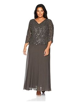 Women's Plus Size 3/4 Sleeve With Scallop Beaded Pop Over Gown