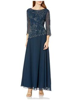 Women's 3/4 Floral Beaded Pop Over Gown