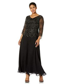 Women's Size 3/4 Scallop Beaded Pop Over Gown Plus