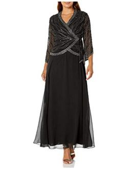 Women's Long 3/4 Sleeve V-neck Beaded Faux Wrap Dress