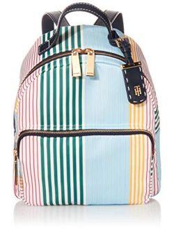 Julia Striped Nylon Dome Backpack