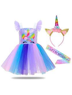 MHJY Sequin Unicorn Dress for Girls Birthday Party Halloween Costume with Unicorn Headband,Birthday Sash