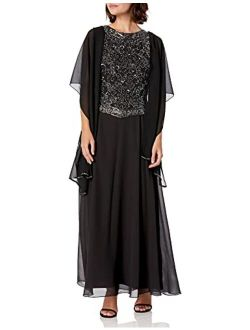 Women's Petite Long Beaded V Trim Detail Dress With Scarf