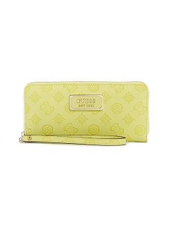 Women's Logo Love Large Zip Around Wallet - Lime