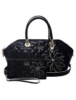 Women's Floral Logo Satchel Bag & Wallet Set