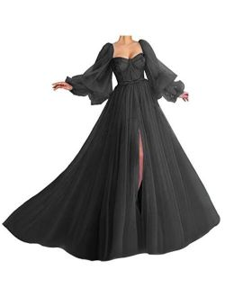 Puffy Sleeve Prom Dress Long Sweetheart Tulle Ball Gown