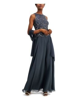 Embellished A-Line Gown and Scarf