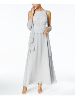 Beaded Gown & Chiffon Scarf