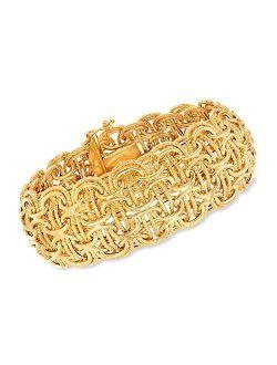 Italian 18kt Yellow Gold Modified Byzantine-link Bracelet