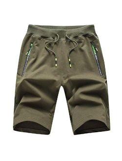 Men's Casual Shorts Elastic Waist Comfy Workout Shorts Drawstring With Zipper Pockets