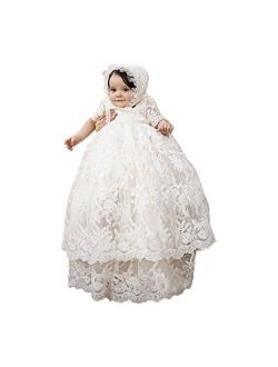 Baby Long Ivory Christening Gown Lace Baptism Dress with Bonnet