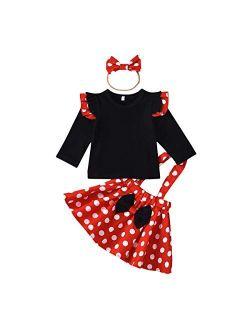 Polka Dots Tutu Costume For Baby Girl Princess 1st Birthday Party,dress Up W/overall Suspender Skirt,headband