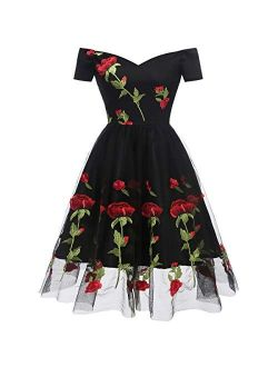 Women Vintage 1950s Embroidered Off Shoulder 3/4 Sleeves Flower Rose Wedding Cocktail Party Swing Gatsby Evening Short Gown