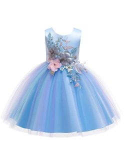 Flower Girls Rainbow Princess Tulle Dress Wedding Party Pageant Formal Evening Short Gown