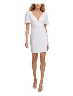 V-Neck Ponté-Knit Sheath Dress