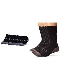 Adult Resistor 3.0 No Show Socks, 6 Pairs, Black/graphite, Shoe Size: Mens 9-12.5, Womens 11-13 & Under Armour Resistor 3.0 Crew Socks, 6-pairs, Black/graphi