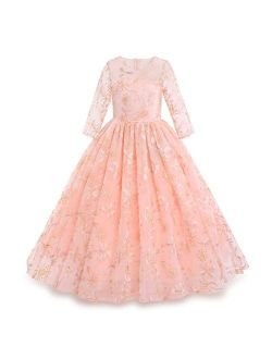 Flower Girls Vintage Floral Boho Lace 3/4 Sleeves Maxi Dress Wedding Princess Party Communion Evening Formal Dance Gown