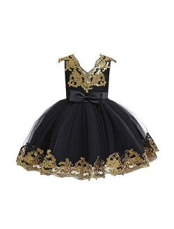Flower Girl Tutu Tulle Yellow Dress Little Big Princess Wedding Bridesmaid Party Communion Formal Short Gown for Kids