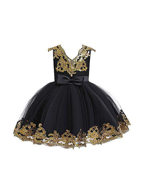 IBTOM CASTLE Flower Girl Tutu Tulle Yellow Dress Little Big Princess Wedding Bridesmaid Party Communion Formal Short Gown for Kids