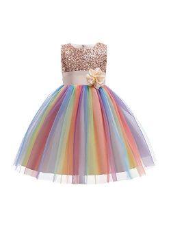 Kids 3/4 Sleeve Sequin Tutu Mesh Junior Flower Girl Dress for Princess Dance Communion Party Wedding Pageant Maxi Gown